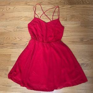 Strappy Red Chiffon Dress